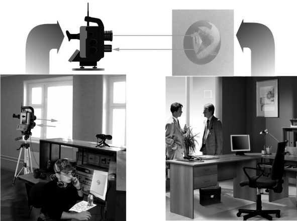 Схема подслушивания с помощью лазерного микрофона и микропризмы